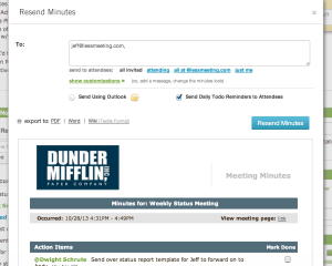 add attendees to meeting minutes